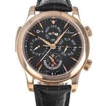 Jaeger-LeCoultre Master Grand Réveil pre-owned 43mm Black Moon phase Date Weekday Month Year Perpetual calendar Alarm Crocodile skin