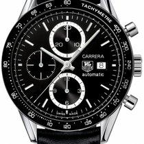 TAG Heuer Carrera Calibre 16 gebraucht 41.5mm Schwarz Chronograph Datum Leder