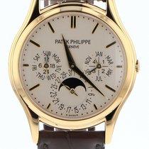 Patek Philippe Perpetual Calendar occasion 37.2mm Blanc Phase lunaire Date Affichage des mois Calendrier perpétuel Cuir de crocodile