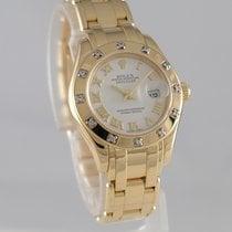 Rolex Lady-Datejust Pearlmaster Желтое золото 29mm Белый Римские