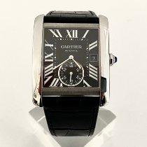 Cartier Tank MC pre-owned Black Date Crocodile skin
