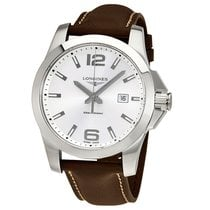 Longines HydroConquest pre-owned 43mm Silver Date Leather