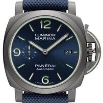 沛納海 Luminor Marina 鈦 44mm 藍色 阿拉伯數字