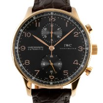IWC Red gold Automatic Black 41mm pre-owned Portuguese Chronograph