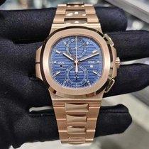 Patek Philippe Nautilus Pозовое золото 40.5mm Синий Без цифр
