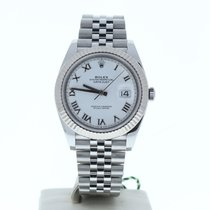 Rolex White gold Automatic White Roman numerals 41mm new Datejust