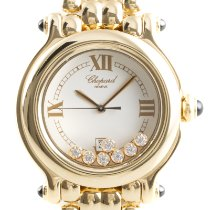 Chopard Yellow gold Quartz White 32mm pre-owned Happy Sport