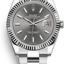 Rolex Steel Automatic Grey No numerals 41mm new Datejust