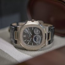 Patek Philippe Nautilus pre-owned 40mm Grey Moon phase Date Fold clasp