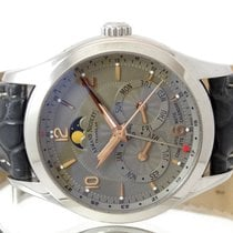 Armand Nicolet M02 pre-owned 43mm Grey Moon phase Date Month Crocodile skin