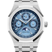 Audemars Piguet Platinum Automatic Blue No numerals 41mm new Royal Oak Perpetual Calendar