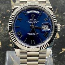 Rolex Day-Date 40 Vitguld 40mm Blå Romerska