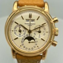 Patek Philippe Rose gold Manual winding Silver 36mm pre-owned Perpetual Calendar Chronograph