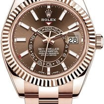Rolex Sky-Dweller Rose gold 42mm Brown Roman numerals