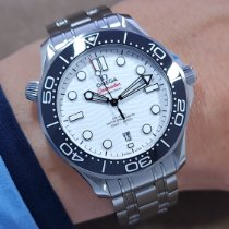Omega Seamaster Diver 300 M Stal 42mm Biały Bez cyfr