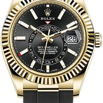 Rolex Yellow gold Automatic Black No numerals 42mm new Sky-Dweller