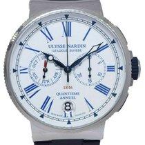 Ulysse Nardin Steel Automatic White Roman numerals 43mm new Marine Chronograph