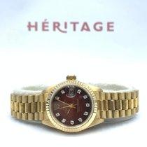 Rolex Lady-Datejust Or jaune 26mm Rouge Sans chiffres