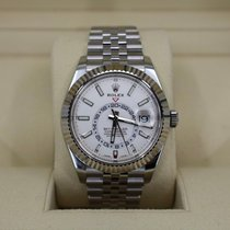 Rolex Steel Automatic White No numerals 42mm new Sky-Dweller