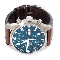 IWC Pilot Chronograph pre-owned 43mm Green Chronograph Date Calf skin