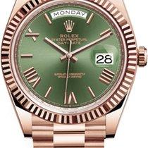Rolex Day-Date 40 Rose gold 40mm Green Roman numerals
