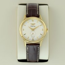 Longines Yellow gold Automatic Silver 38.5mm pre-owned Flagship Heritage
