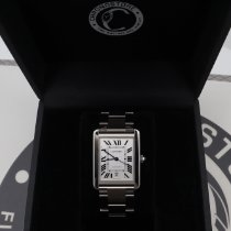 Cartier Steel Automatic Silver Roman numerals 41mm pre-owned Tank Solo