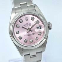Rolex Oyster Perpetual Lady Date Stål 26mm Rosa Inga siffror