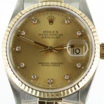 Rolex Datejust Złoto/Stal 36mm Szampański Bez cyfr