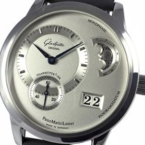 Glashütte Original PanoMaticLunar pre-owned 39mm Silver Moon phase Panorama date Date Rubber