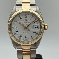 Rolex Oyster Perpetual Date Ouro/Aço 34mm Branco Sem números