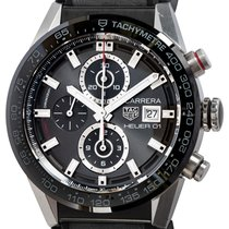 TAG Heuer Carrera Calibre HEUER 01 pre-owned 43mm Grey Chronograph Date Tachymeter Rubber