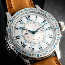 Longines Lindbergh Hour Angle Steel 47mm White Roman numerals