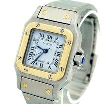 Cartier Santos (submodel) Золото/Cталь 24mm Белый Римские