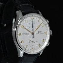 IWC Silver Automatic White Arabic numerals pre-owned Portuguese Chronograph