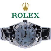 Rolex Lady-Datejust Pearlmaster Vitguld 34mm Pärlemor Romerska
