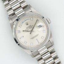 Rolex Platino Automatico Argento Senza numeri 36mm usato Day-Date