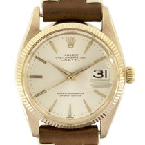Rolex Rose gold Automatic Silver No numerals 34mm pre-owned Oyster Perpetual Date