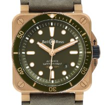 Bell & Ross BR 03 pre-owned 42mm Green Chronograph Date Leather