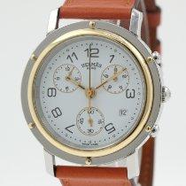 Hermès Clipper Stahl 38.5mm Weiß Arabisch