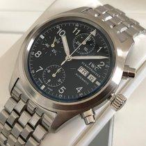 IWC Fliegeruhr Chronograph gebraucht 39mm Schwarz Chronograph Datum Stahl