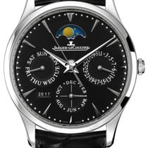 Jaeger-LeCoultre Master Ultra Thin Perpetual pre-owned 39mm Black Moon phase Date Month Perpetual calendar Crocodile skin