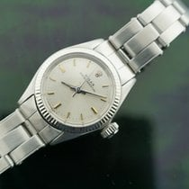 Rolex White gold Automatic Silver No numerals 25mm pre-owned Oyster Perpetual