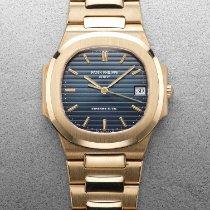 Patek Philippe Nautilus Желтое золото 33mm Синий Без цифр