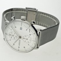 Junghans max bill Chronoscope pre-owned 40mm White Chronograph Date Steel