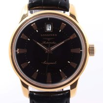 Longines Yellow gold Automatic Black 35mm pre-owned Conquest Heritage
