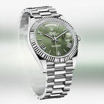 Rolex Day-Date 40 White gold 40mm Green Roman numerals United Kingdom, Shrewsbury