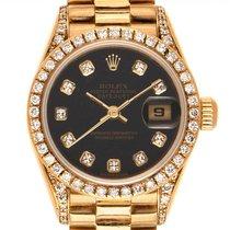 Rolex Желтое золото Автоподзавод Черный 26mm подержанные Lady-Datejust