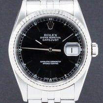 Rolex Datejust Stal 36mm Czarny Bez cyfr