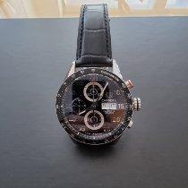 TAG Heuer Carrera Calibre 16 použité Černá Chronograf Datum Ukazatel dne Tachymetr Ocel